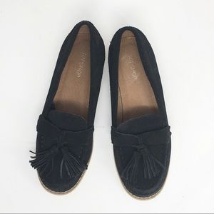 TOPSHOP Black Suede Oxford Flats Loafers Tassels
